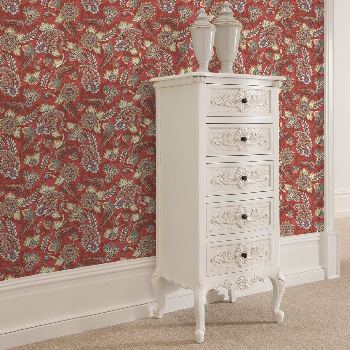 Edle Wandfarben Rote Edle Design Tapete Quotclassic Paisley Quot Wohnzimmer Gmm