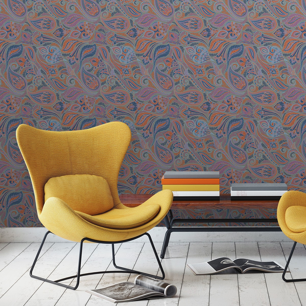 Edle Wandfarben Graue Edle Design Tapete Quotgrand Paisley Quot Wohnzimmer Gmm