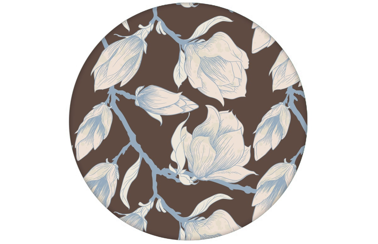 Edle Wandfarben Edle Braun Blumentapete Quotblooming Magnolia Quot Mit Blüten