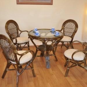 Ratanový nábytek - luxusní ratanová sedací souprava je vyrobena z přírodního ratanu v olivově hnědé barvě konstrukce. Souprava se skládá ze 4 křesel