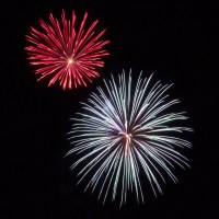 Massachusetts Fireworks: red and white bursts
