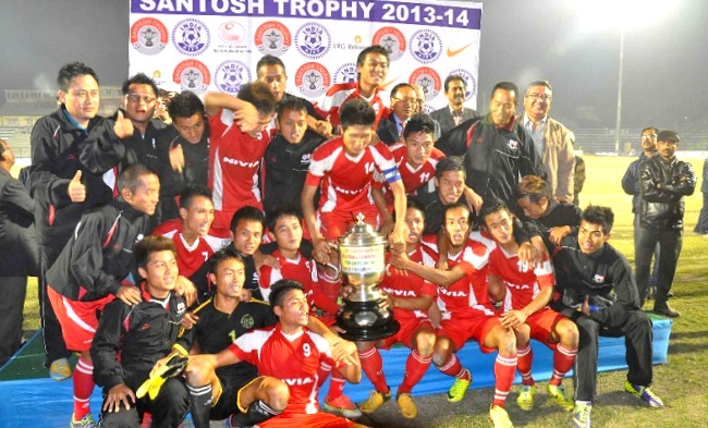 Mizoram Players celebrating after winning Santosh Trophy