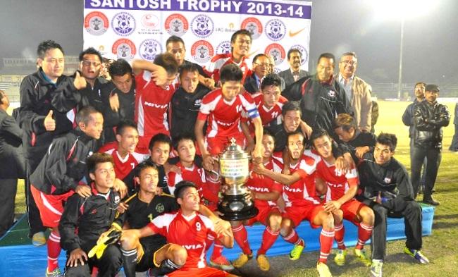 Mizoram Players celebrating after winning Santosh Trophy