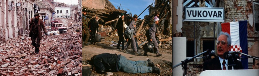 Destroyed Vukovar City,under the close monitoring of Chetniks, Croats were leaving the city amidst ruins and dead bodies,Franco Tudjman in Vukovar, 1997(all are from inavukic.com) [Left to Right]31-34-12