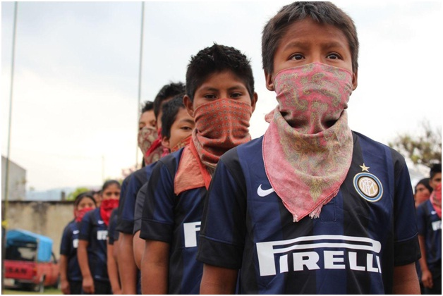 Figure 3 Next Zanettis? Balaclava clad students from Inter Football campus of Chiapas. [Source: Inter.it]