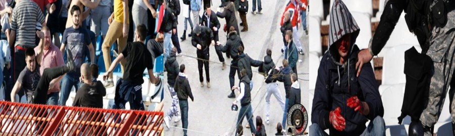 Ultras are fighting in the stadium (foxnews.com), ultras are fighting in the street (hooliganstv.com),not a very uncommon sight in the football stadiums of this region(foxnews.com) [Left to Right]