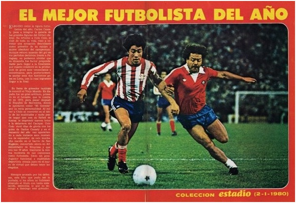 Chile playing against Paraguay in the 1979 Final