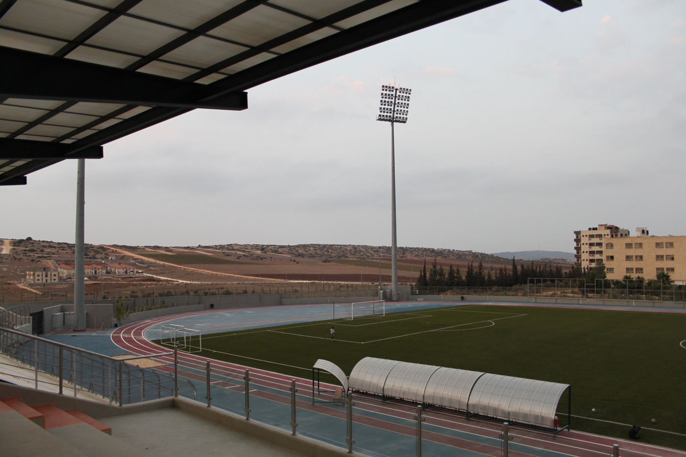The newest stadium in West Bank. One of only dozen stadiums used by about 70 thousand Palestinian footballers and home to Jenin FC.