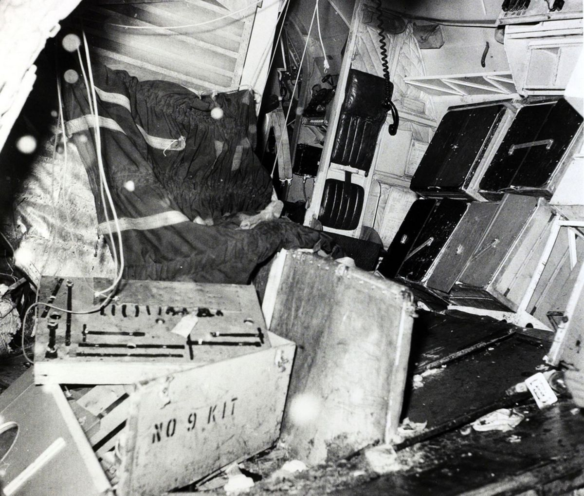 "The interior of the B,E,A, Elizabethan airliner G-ALZU ""Lord Burghley"" after the crash at Munich in which 23 people died, 8 being Manchester United footballers (Photo: Getty)"