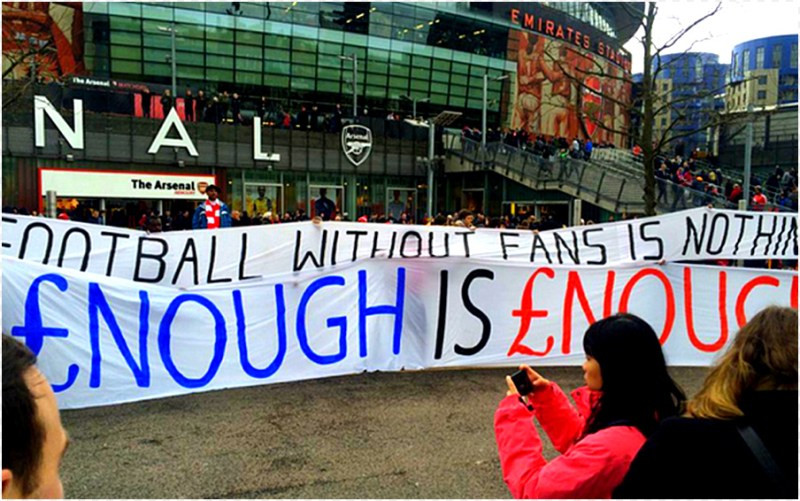 Fan power: Supporters stage their protest at ticket prices outside the Emirates (from Twitter)