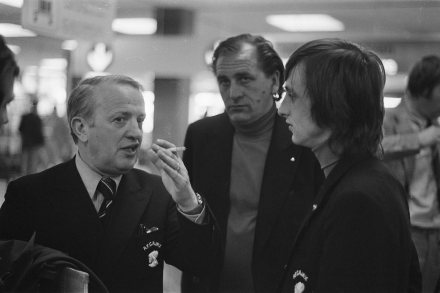 ajax back from madrid kovacs haarms and cruyff at schiphol april 26 1973