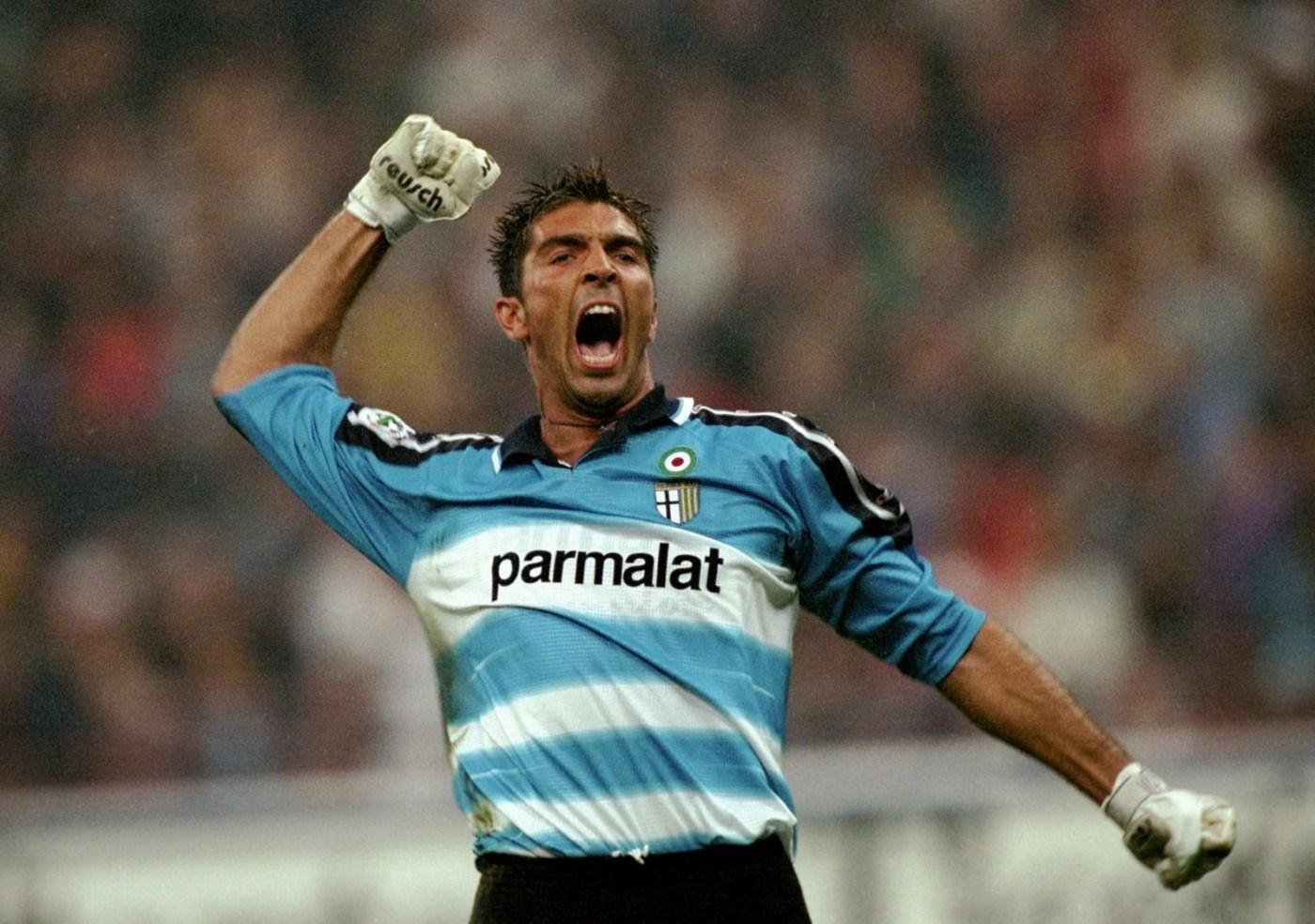 19 Sep 1999: Parma's Gianluigi Buffon celebrates during the Serie A match between Inter Milan and Parma played at the San Siro in Milan, Italy. Inter won the match 5-1. Mandatory Credit: Claudio Villa /Allsport