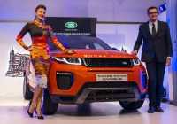 Mr. Rohit Suri, President, Jaguar Land Rover India Ltd and Jacqueline Fernandez at the launch of MY16 Range Rover Evoque