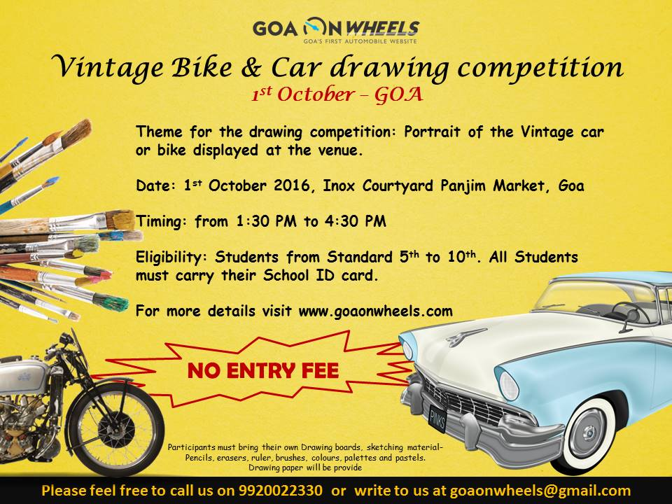 Vintage Bike & Car drawing competition on 1st October