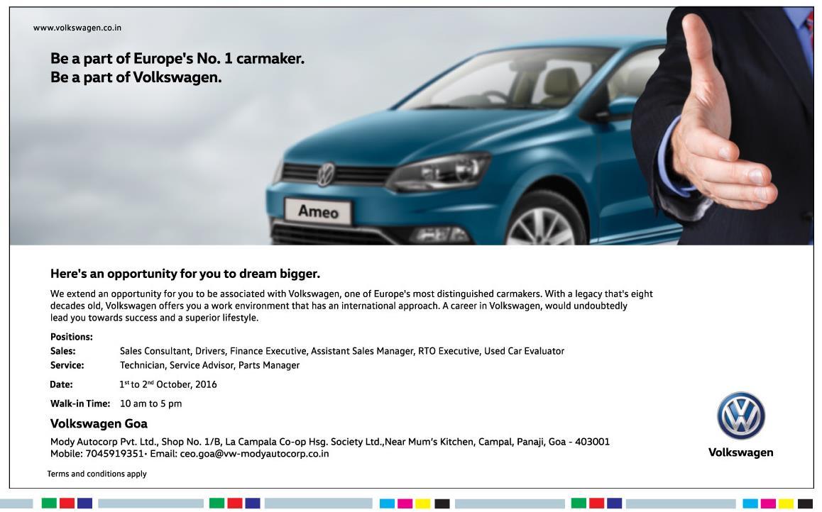 Auto Jobs in Goa - Volkswagen Goa is hiring