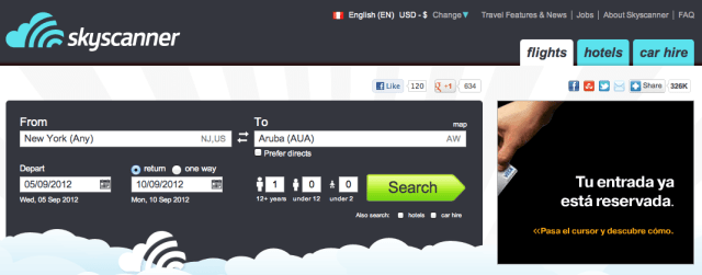 Skyscanner search box on the home page