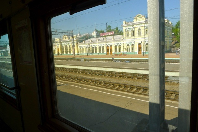 Irkutsk Station through the train window.