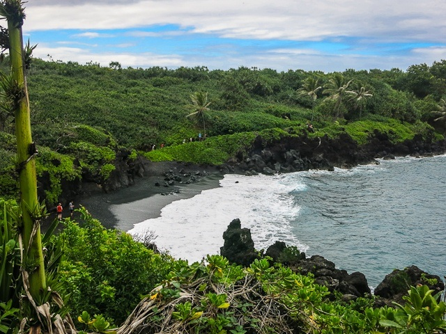 The black sand beaches of Hana Bay