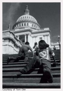 Photo of the Capitol Crawl in March 1990 to protest for the ADA. Photo credit: Tom Olin