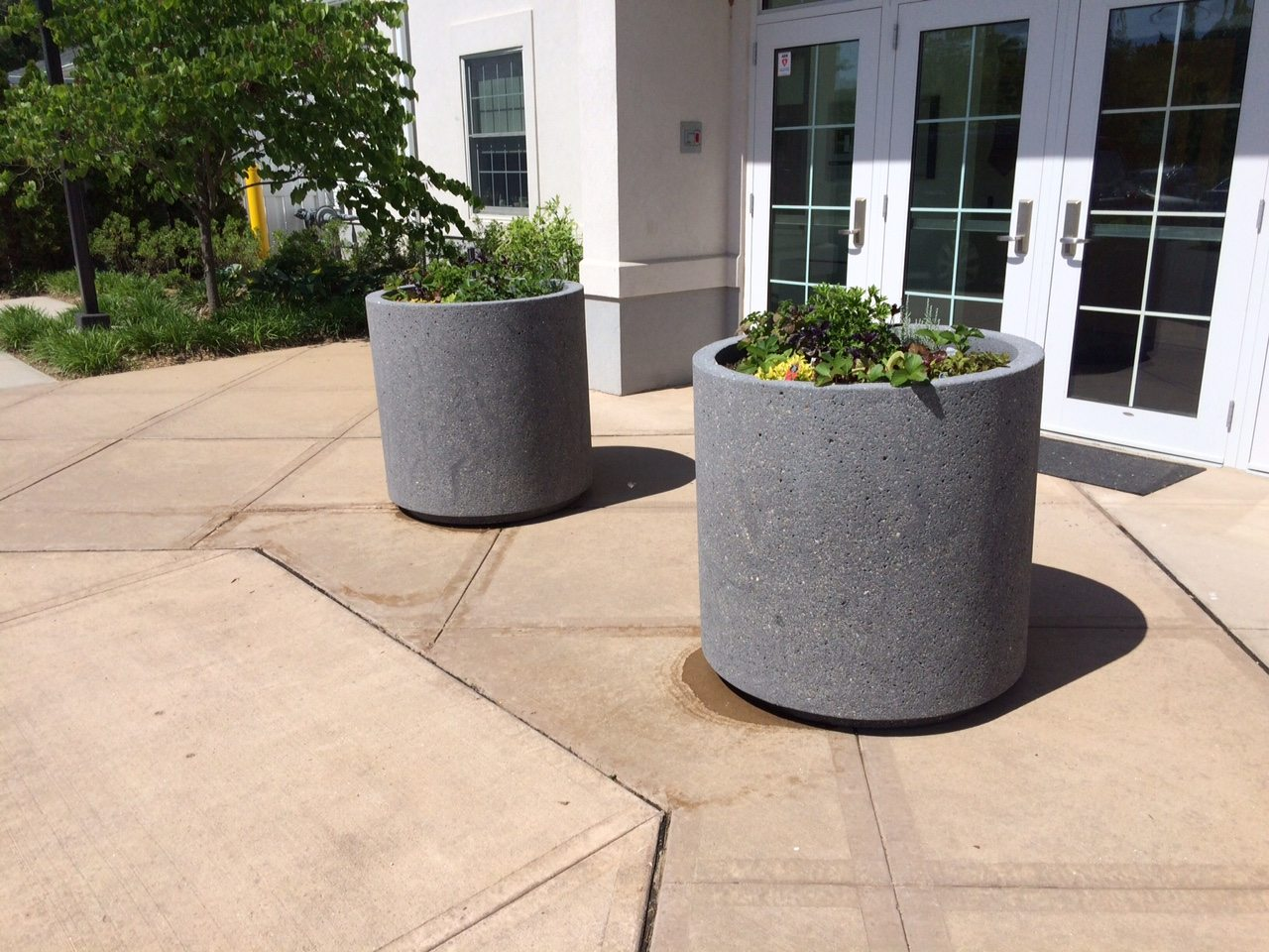 Concrete Outdoor Pots Round Concrete Planter W Toe Kick Site Furnishings