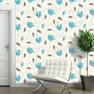 Vymura Synergy Glitter Floral Wallpaper - Teal and Silver