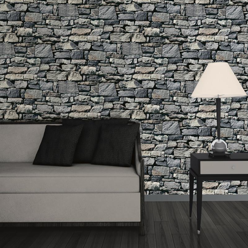 3d Effect Stone Brick Wall Textured Vinyl Wallpaper Muriva Dry Stone Wall 3d Effect Wallpaper