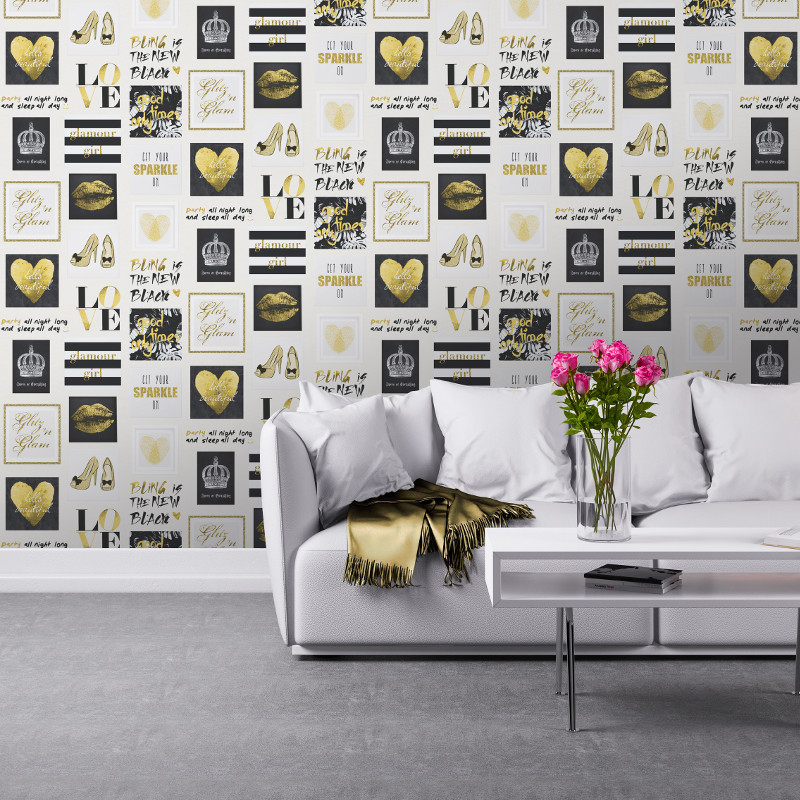 3d Wallpaper For Bedroom Uk Muriva Glitz And Glam Wallpaper Gold Amp Silver