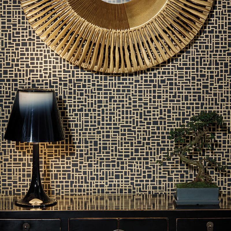 Black Crown Wallpaper Satoni Geo Black Gold Wallpaper Arthouse Eastern Alchemy