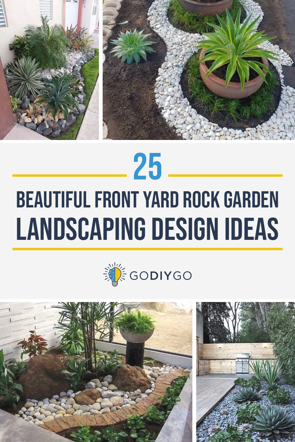 25 Beautiful Front Yard Rock Garden Landscaping Design Ideas Godiygo Com