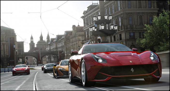 Ferarri leads the pack through the Italian cityscape