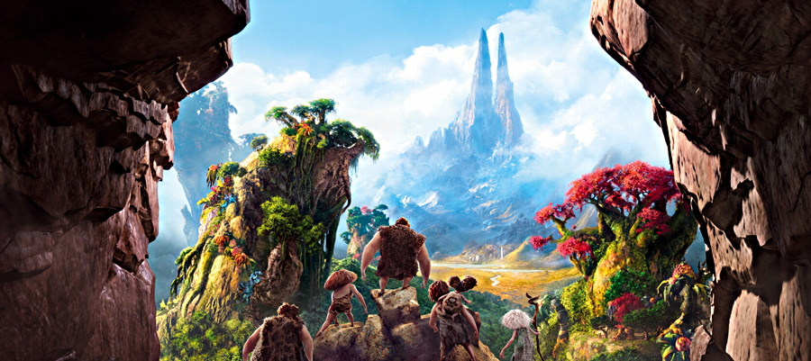 The entire family from The Croods behold the fertile valley
