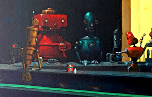 night hawks painting robots hollywood noir geoffrey gersten