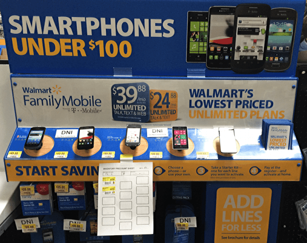 walmart smartphone cell phone display, inventory in progress
