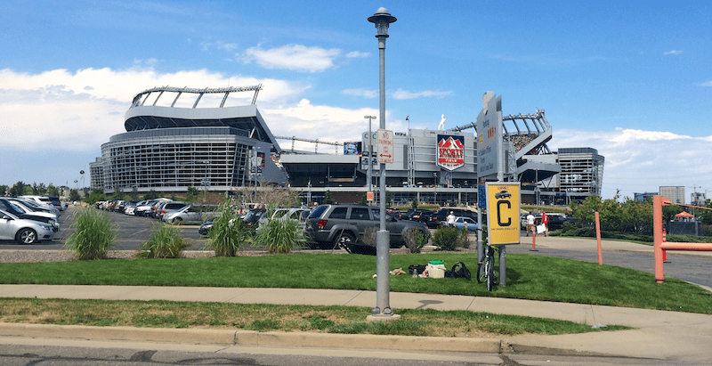 sports authority field from the outside
