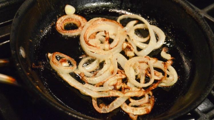 Grilling onions for venison burger