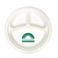 "10"" 3-Compartment Compostable Paper Plate - GOimprints"