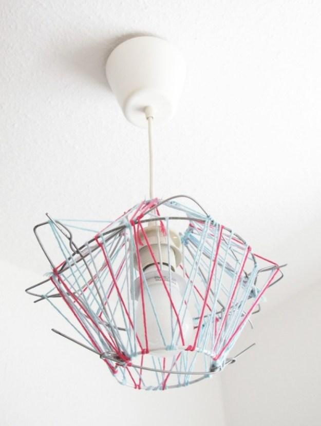 Lampe, Designerlampe, Fäden, DIY, Recycling, Upcycling, Selbermachen, Lampenschirm