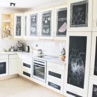 Nachher, Küche, Makeover, Küchenfronten, Günstig, Tafelfolie, Zeichnungen, Chalkboard, Blackboard