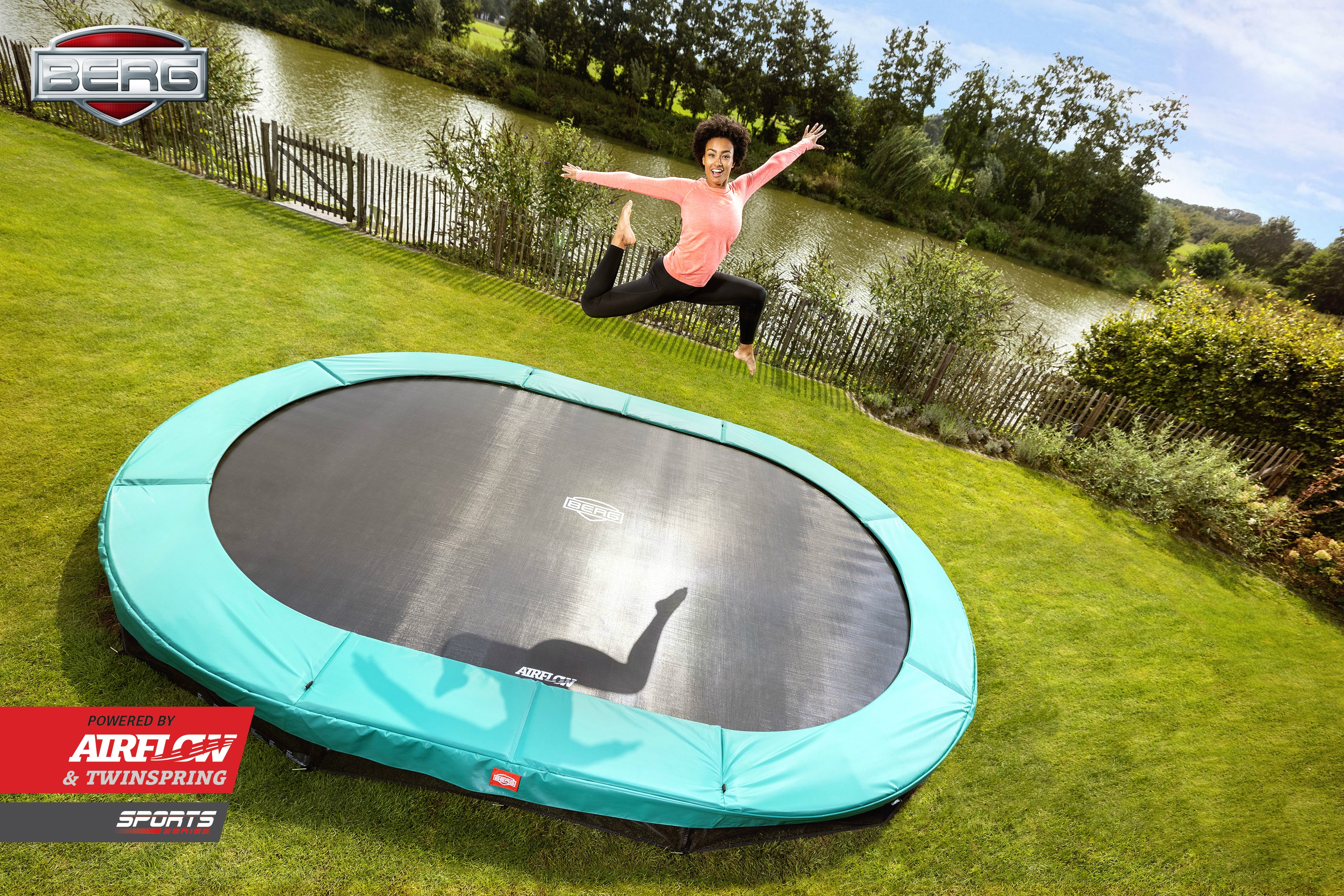 Trampolin 3 5 Meter Berg Trampolin Inground Grand Champion Green Oval 520 Cm