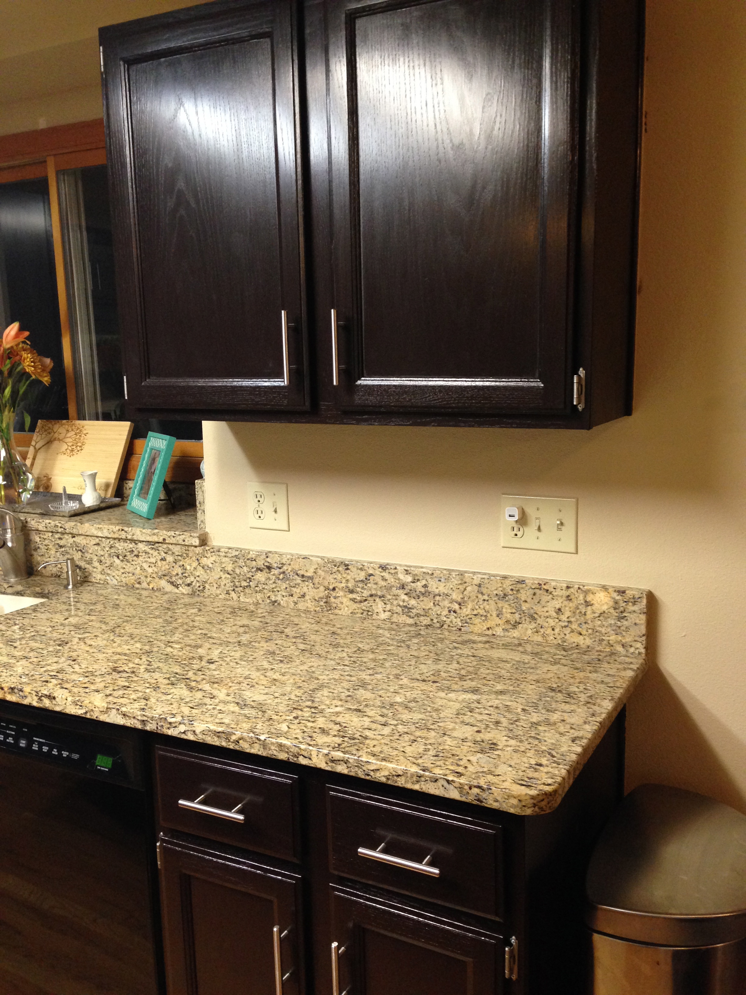 Java Stained Kitchen Cabinets Gel Stained Cabinets… Goodbye Honey Oak! | Gold Confetti
