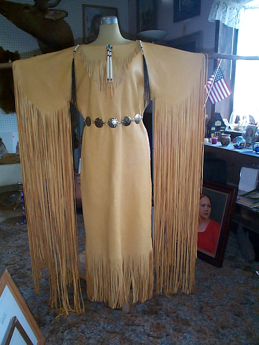goldeneagle3 native american wedding dress All hand cut lace hand sewn hand tied fringe on the skirt For Pow Wow dancing or wedding Dresses made to your size Price esimate upon request