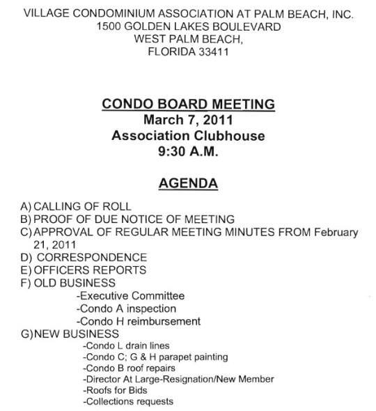 condo association meeting minutes template