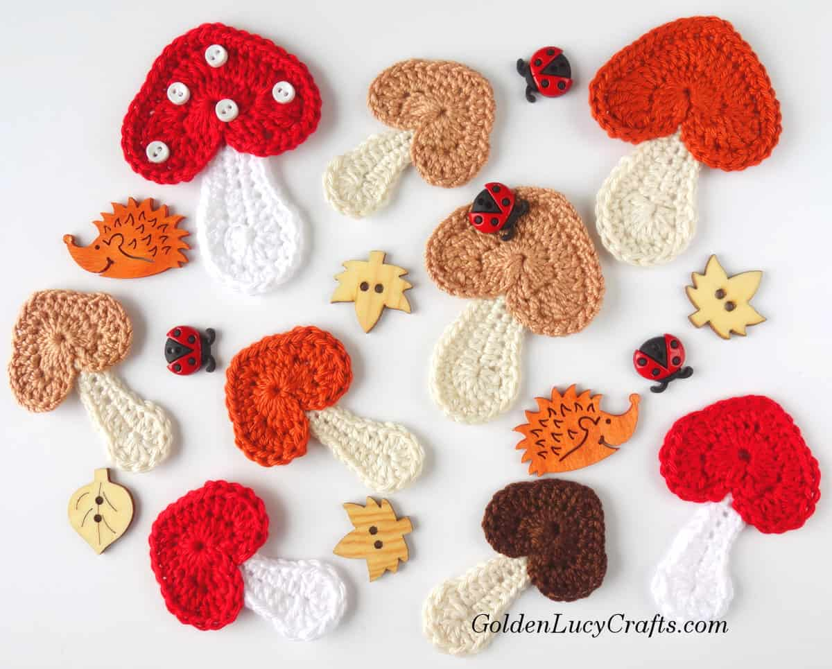 Applique Crochet Mushroom Applique Free Crochet Pattern Goldenlucycrafts