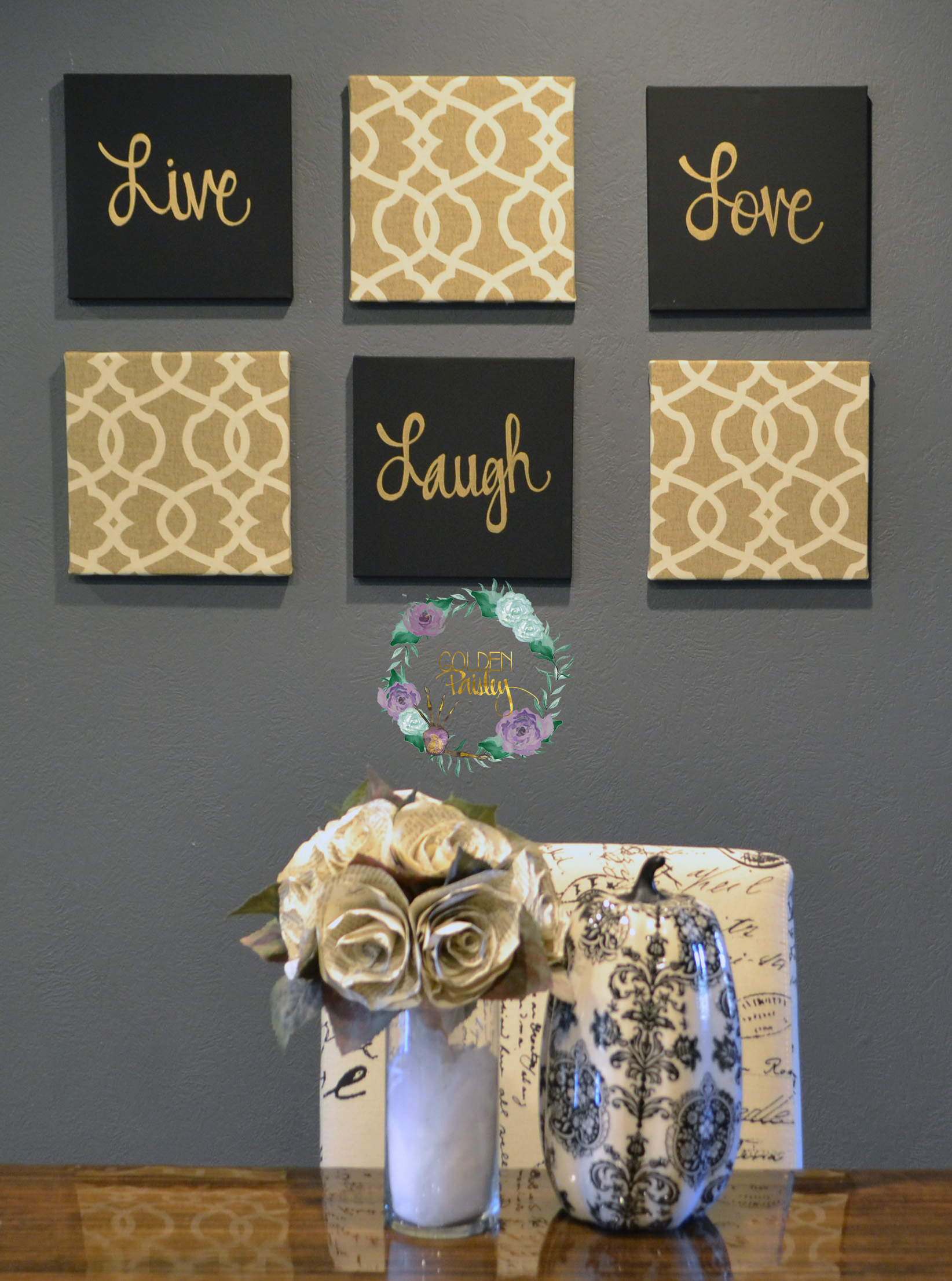 Pictures Wall Decor Ideas Black And Gold Eat Drink Be Merry Chic Wall Art Set