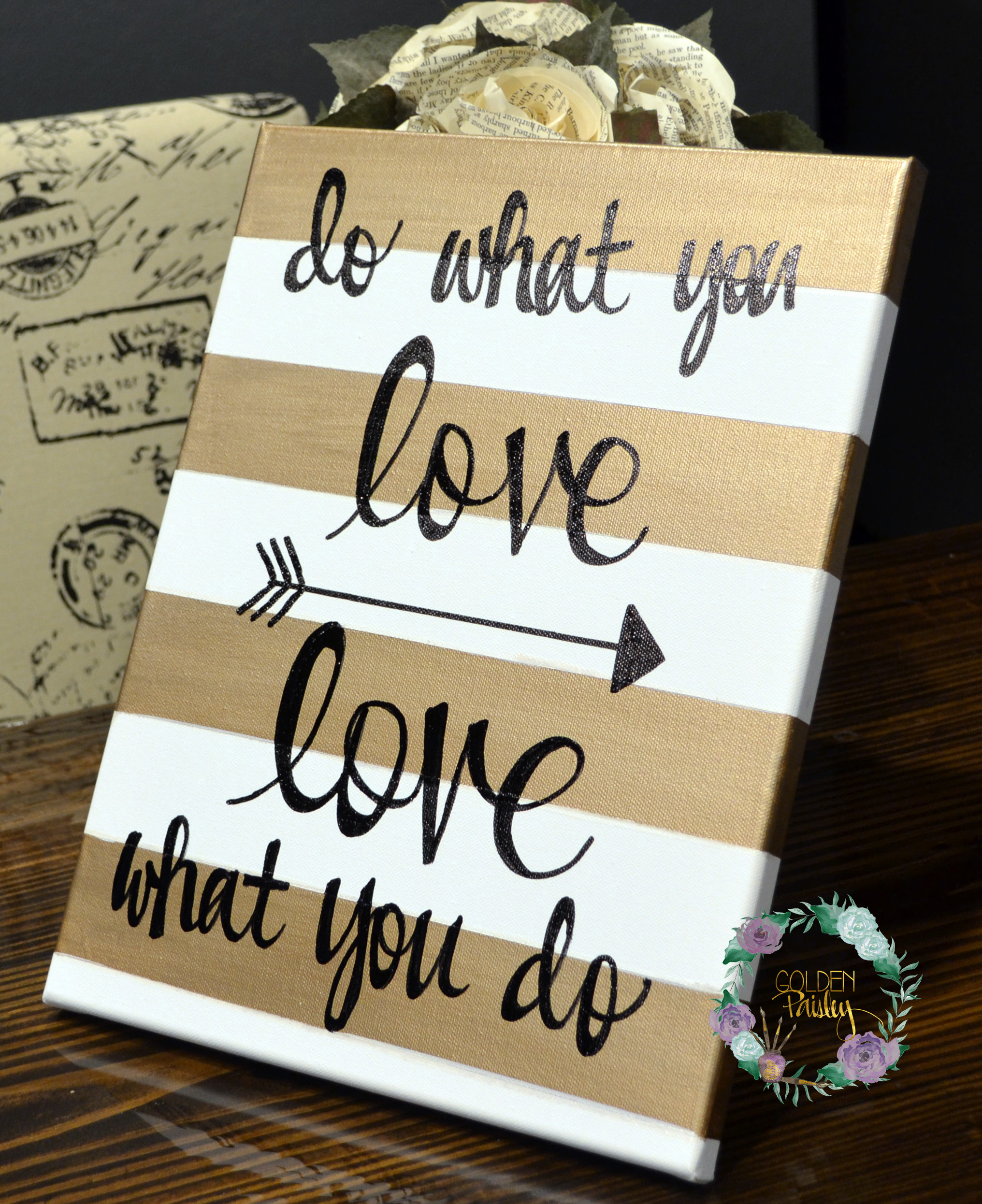 Diy Canvas Wall Art Quotes Do What You Love Striped Inspirational Painting