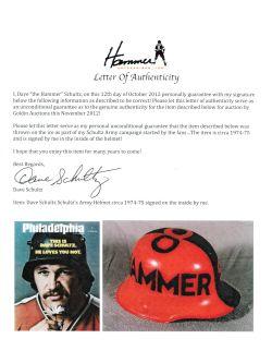 """Dave """"The Hammer"""" Schultz Hand Painted Schultz Army Helmet circa 1974 ..."""