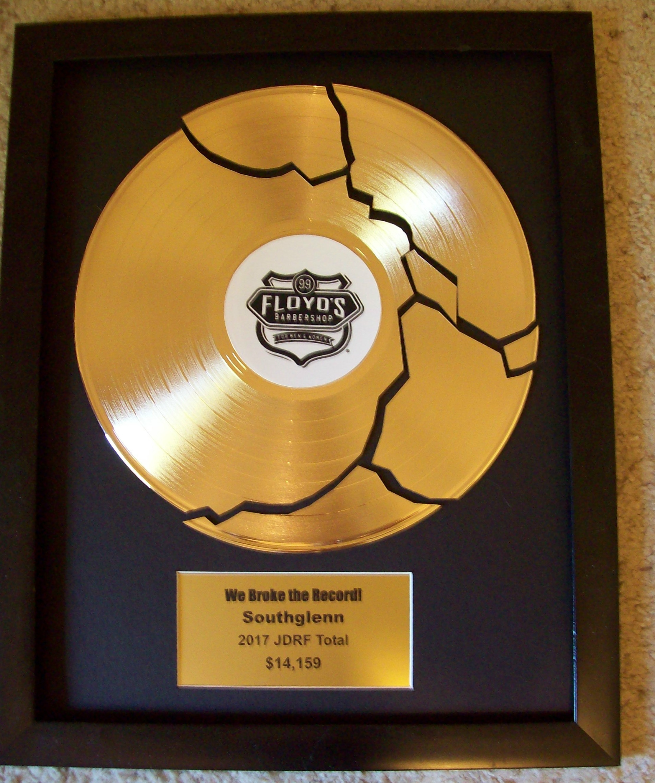 Gold S Custom Gold Broken Record Award Trophy
