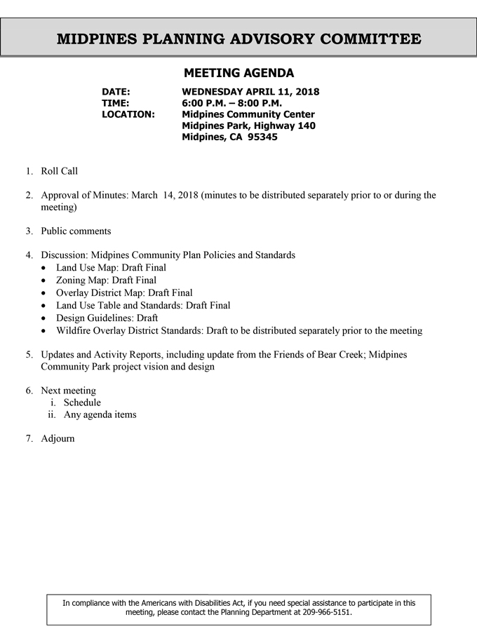 Midpines Planning Advisory Committee Meeting Agenda for Wednesday