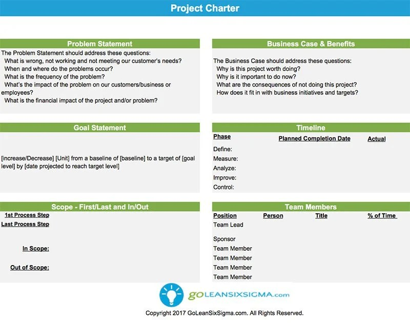 Project Charter - Template  Example - project charter template
