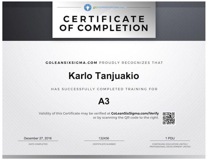 A3 Training  Certificate - GoLeanSixSigma